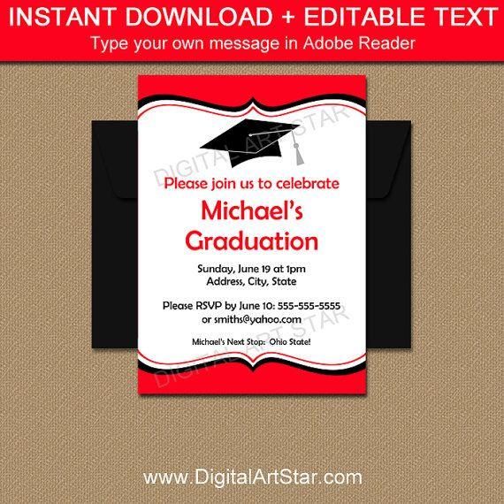 Graduation Invitation Instant Download  Printable Graduation