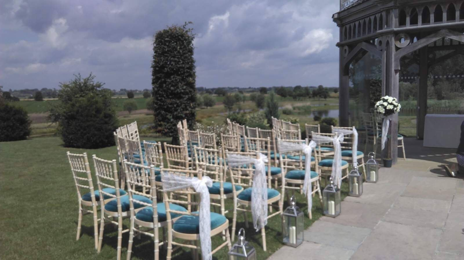 Lace chair sashes 50p each lanterns £7 hire fee each affordable wedding hire cambridgeshire contact