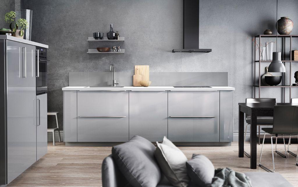 grey kitchen design with grey walls, grey doors and grey