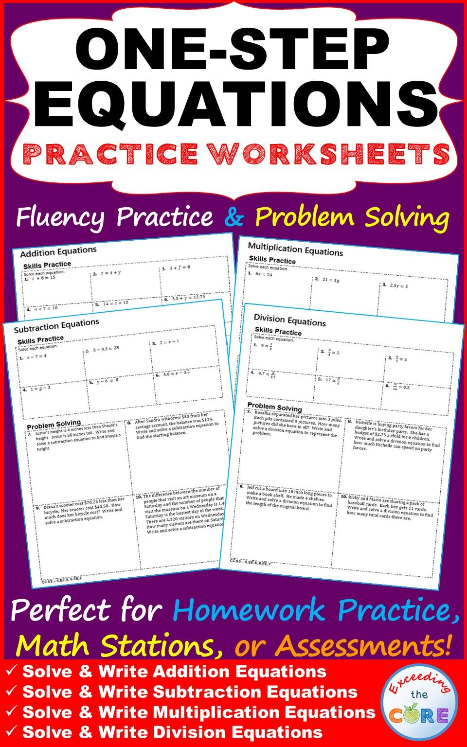 Includes Four One Step Equations Practice Worksheets 40 Questions Each Worksheet Includes A Skills One Step Equations Word Problems Math Practice Worksheets Addition and subtraction equations word