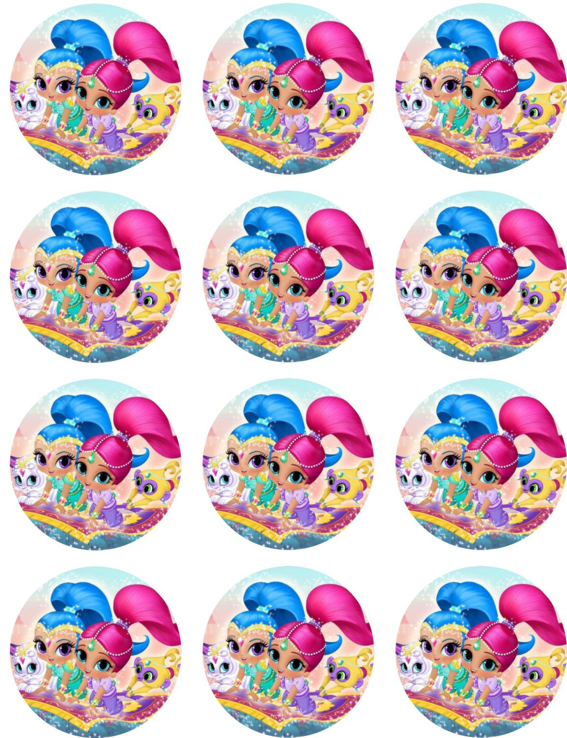 Shimmer Shine Shimmer Shine Characters Birthday Cake Toppers