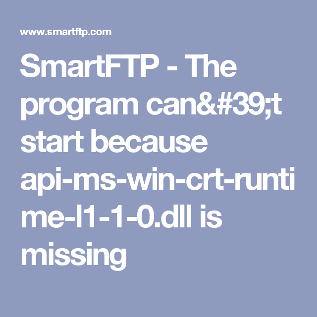api-ms-win-crt-runtime- l1-1-0.dll is missing