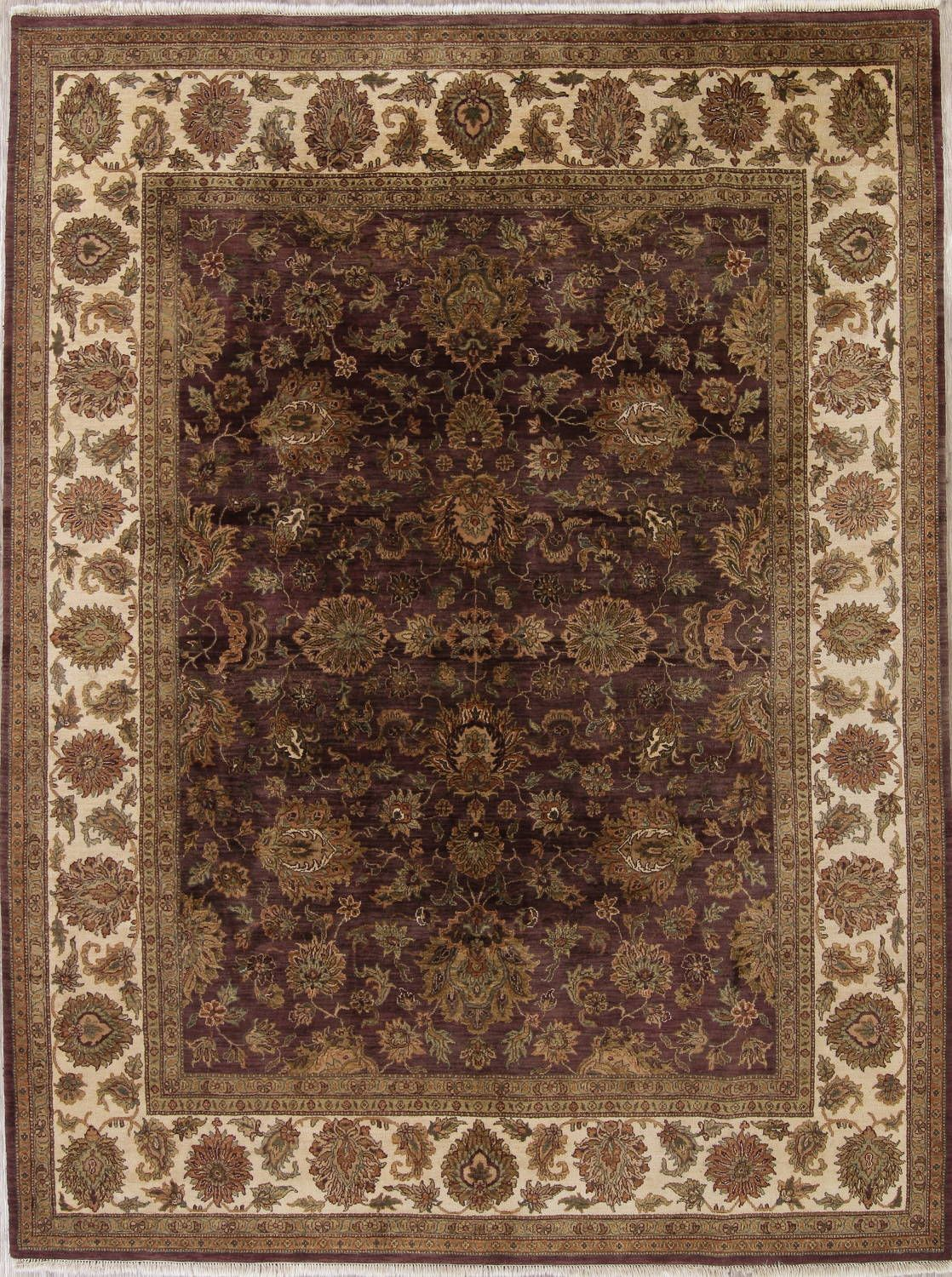 Floral Agra Indian Oriental Hand Knotted 9x12 Wool Area Rug Wool Area Rugs Rugs Area Rugs