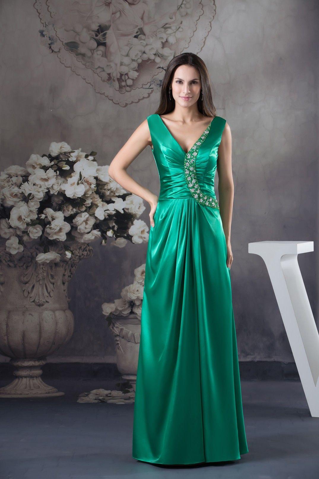 sheath column vneck floor length charmeuse dress with