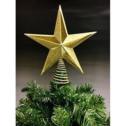 Christmas Tree Topper 11 inch Gold Glittered Star Ornament Festive