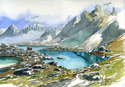 Lacs Robert Belledonne Juil 2013 Dessin Paysage Peinture