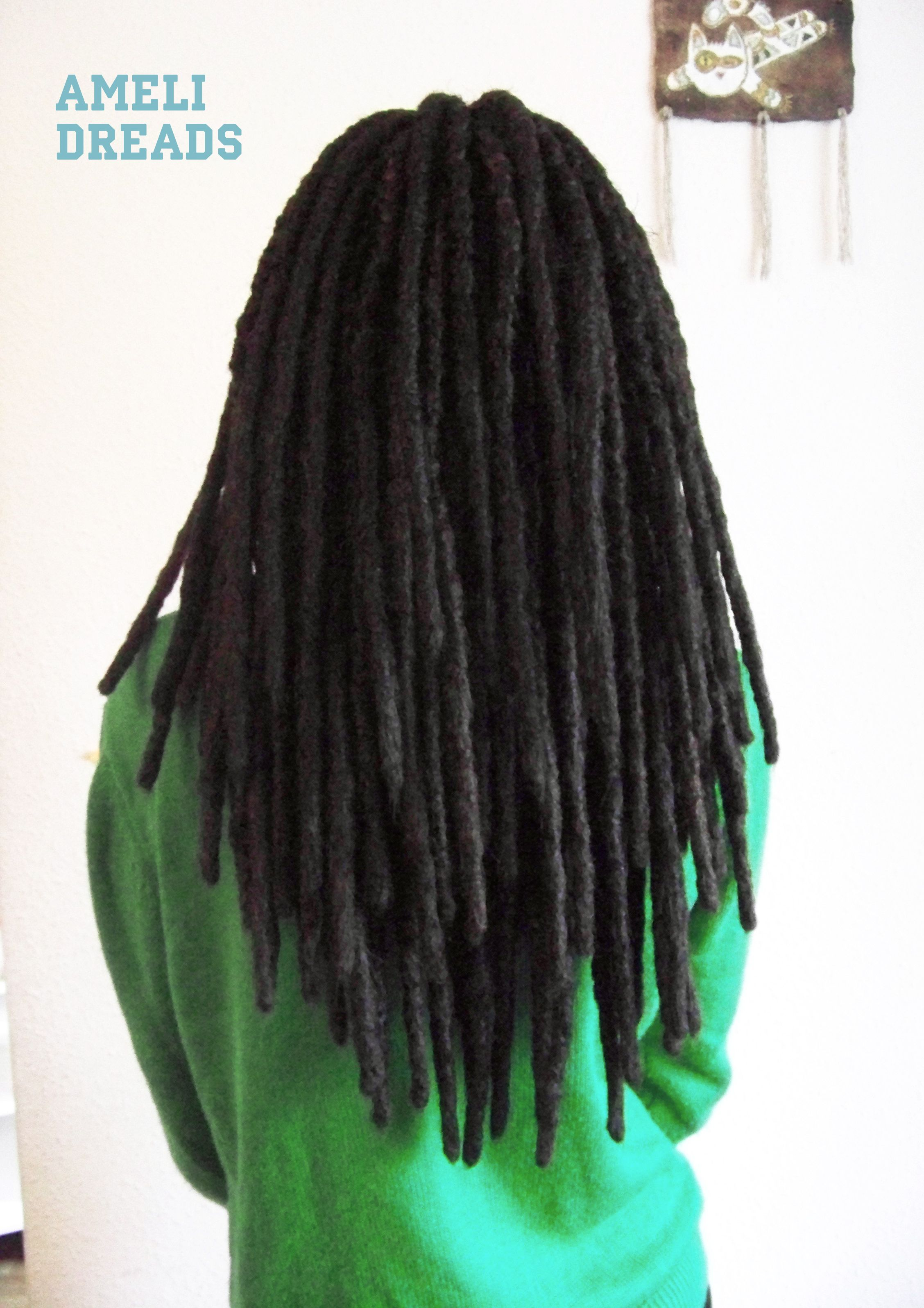 Natural styled synthetic DE dreads with blunt tips by AmeliDreads