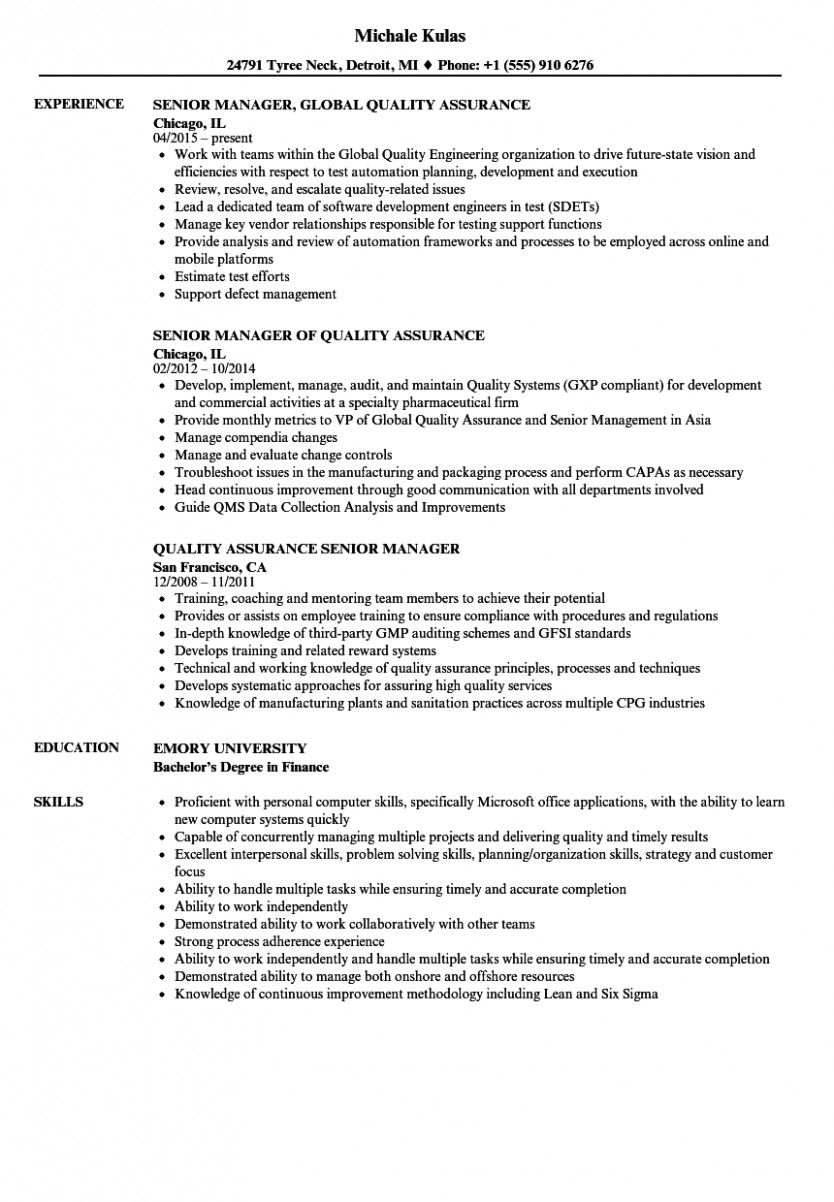 14 Qa Supervisor Resume Pattern