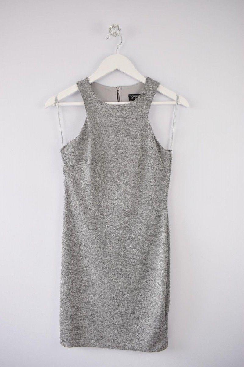 3509534d37b 23.64 | TOPSHOP WOMENS SIZE UK 10 GREY SILVER SLEEVELESS SHORT MINI BODYCON  DRESS ❤ #topshop #womens #size #grey #silver #sleeveless #short #mini # bodycon ...