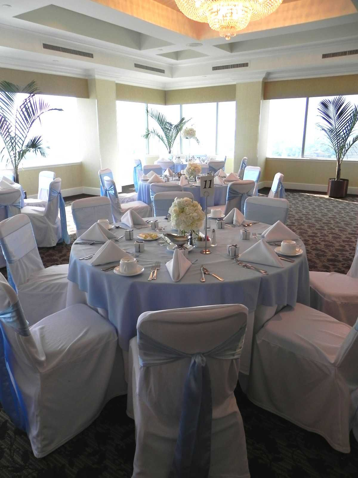 Light Blue Weddinglight Blue Tablecloth With White Chair Covers