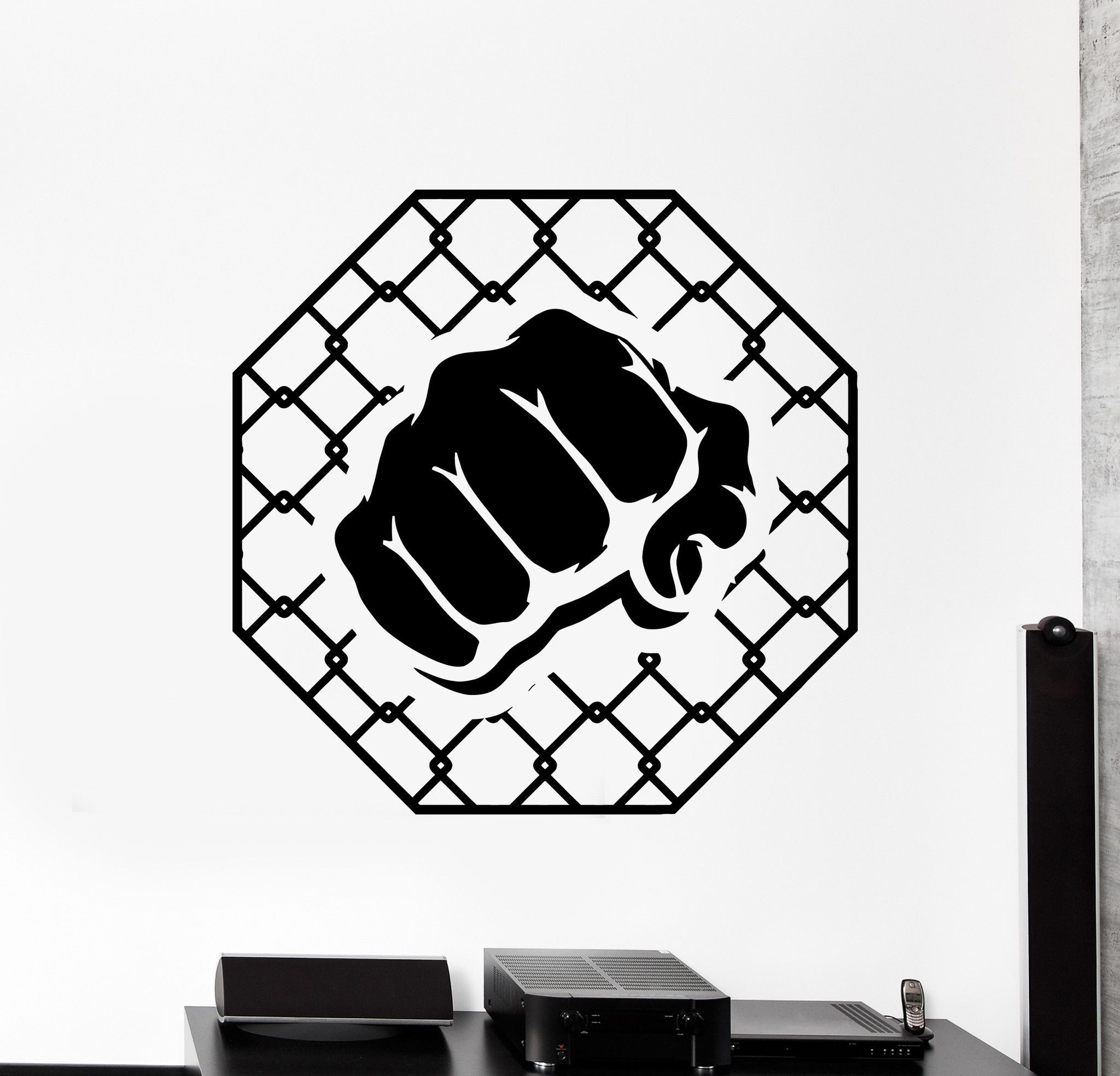 Vinyl Wall Decal Mma Cage Martial Arts Fight Fighters Stickers Murals Unique Gift Ig4778 Cage Tattoos Martial Arts Vinyl Wall Decals [ 1968 x 2048 Pixel ]