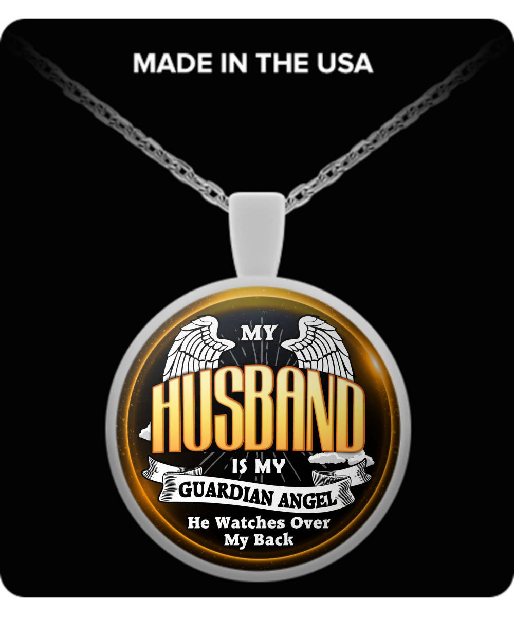 23a10f8525 My Husband Is My Guardian Angel Necklace / Pendant ***** Available: DAD |  PAPA | MOM | HUSBAND | WIFE | SON | DAUGHTER | BROTHER | SISTER | GRANDPA  ...