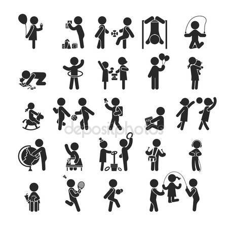 Http Iconswebsite Com Depositphotos Vector Set Of Children Activities Play And Learn Human Pictogram Icons 88031246 Html Pictograma Monigotes Iconos Png