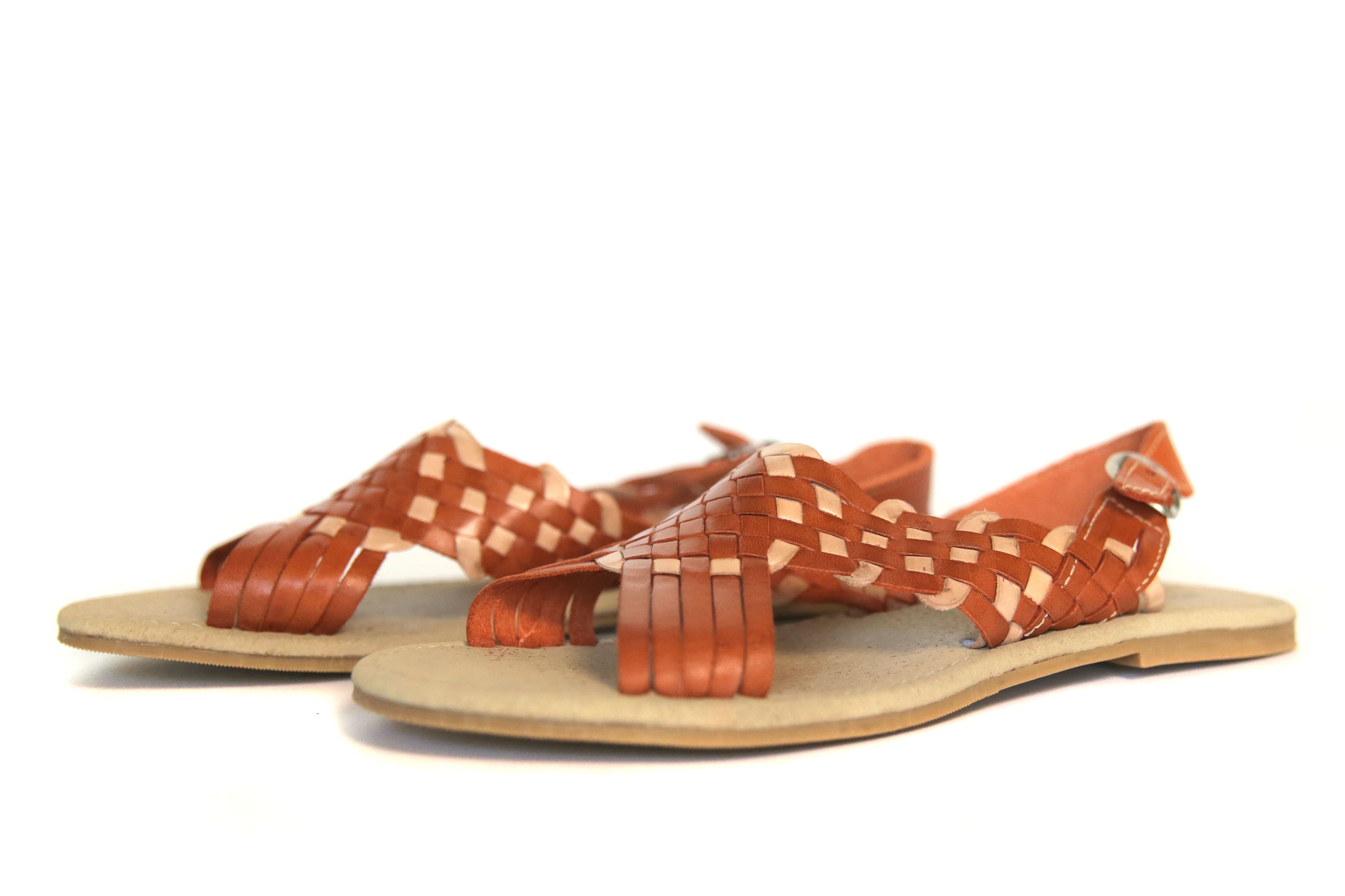 01d4786415a0 Women s Serendipia Open Toe Huarache Sandals - Orange Creme A stylish and  unique checkered pattern make the Serendipia style huarache sandals a  handwoven ...