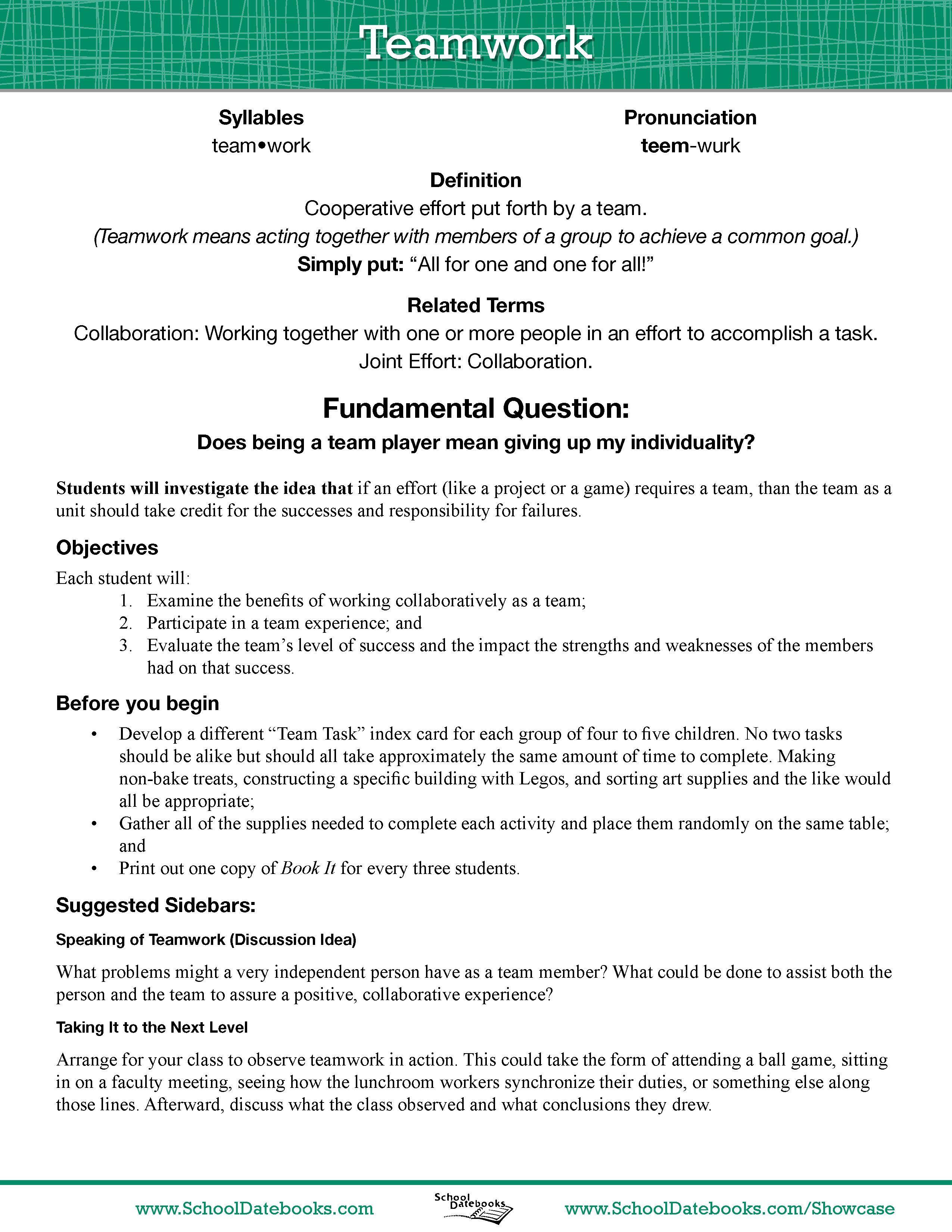 teamwork essay free