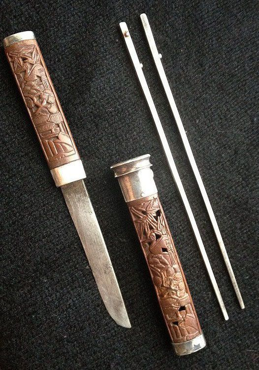Very rare carved wood lady s dagger and chopsticks set