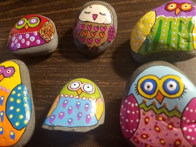 Hand painted rock with an adorable sleepy owl. Lots of details and doodles, creative and pretty! Owl is sealed with a shiny acrylic glaze to keep it eye catching and bright! A great gift for an owl lover!
