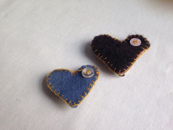 Heart Shaped Needle Felted Hair Pieces (set of 2)
