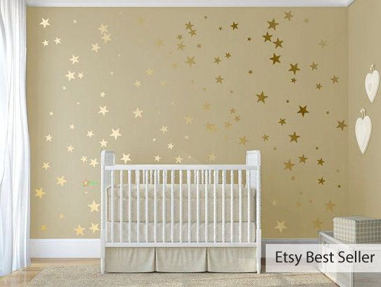 Metallic Wall Decals 120 gold metallic stars nursery wall decals, nursery wall stickers