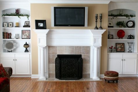 Custom Home Family Room, Flat Screen TV Mounted Over Fireplace ...