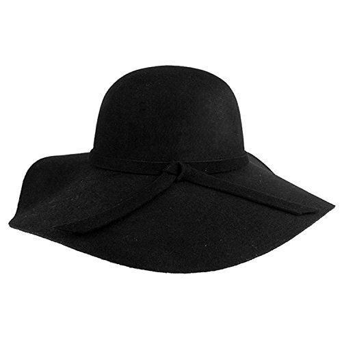 Vbiger Fashion New Women Vintage Wool Round Fedora Cloche Cap Wool Felt  Bowler Hat 0e22bf9d9e50