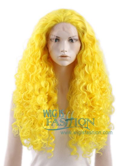 18\'-28\' Long Curly Yellow Lace Front Wig