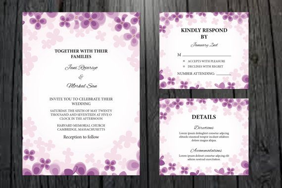 Wedding Invitation Template Printable By Weddingtemplatestock