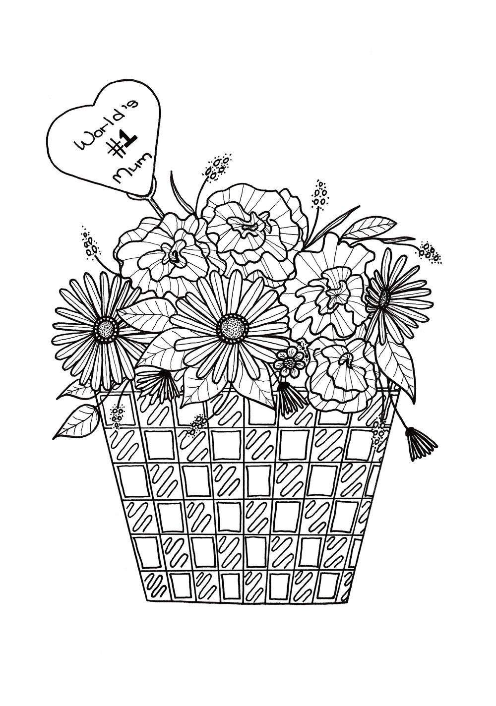 Flower basket motherus day coloring page coloring pages and