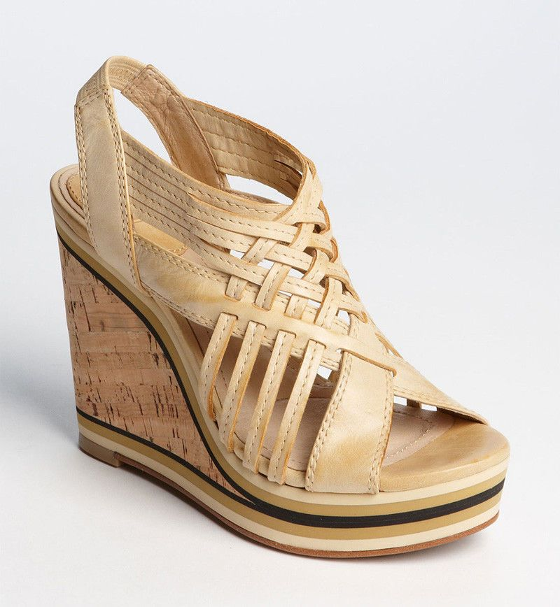 NEW FRYE Womens Corrina Woven Banana Leather Platform Wedge Sandal 7 M Shoe $228