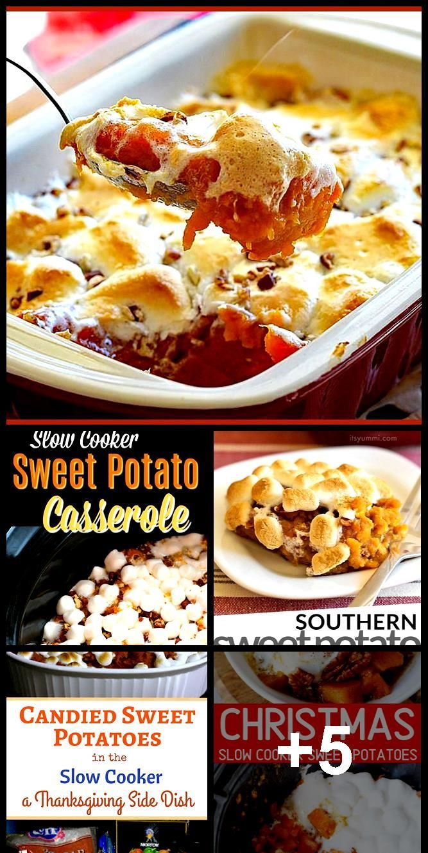 Slow Cooker Sweet Potato Casserole #sweetpotatoes #sweetpotatocasserole #cassero...
