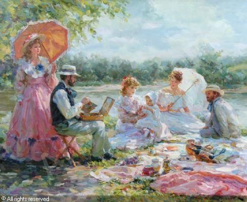 """The picnic"" sold by John Nicholson, Fernhurst, on Thursday, June 29, 2006"