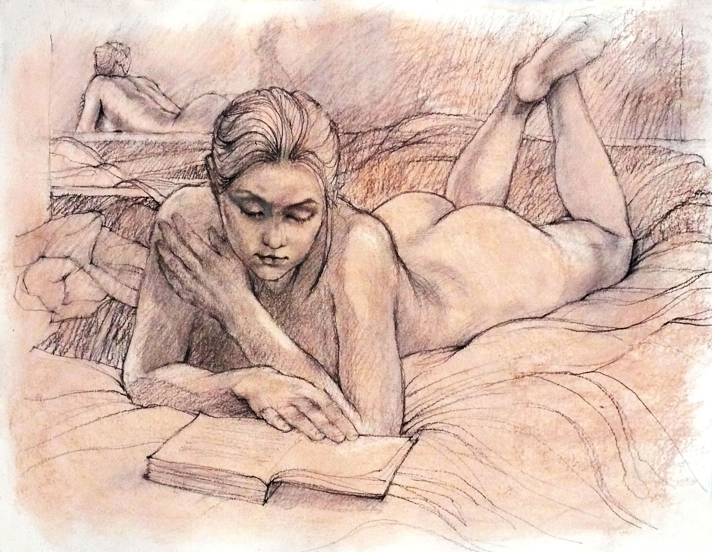 Pastel And Charcoal Drawing Of A Female Nude Reading  Charcoal Drawing  Pinterest -9842