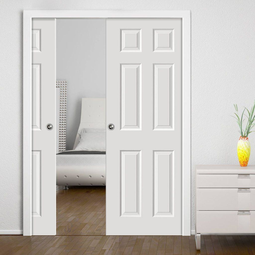 How to repair and replace a pocket door ron hazelton online - Colonist White Double Pocket Doors