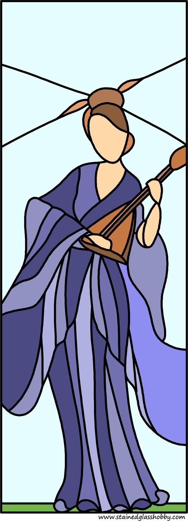 Mujer china diseño del vitral