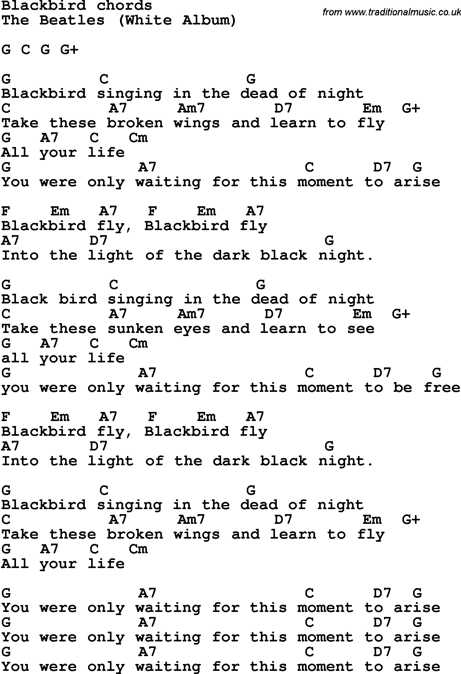 Black Bird By The Beatles Tabs Download Full Song As Pdf File For