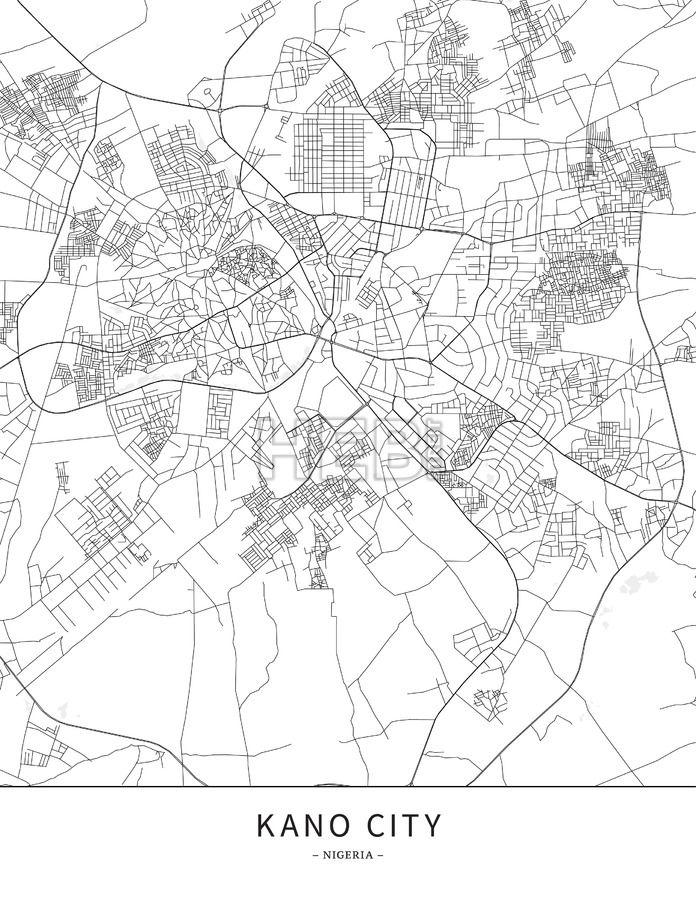 Kano City Nigeria Map poster borderless print template Nigeria