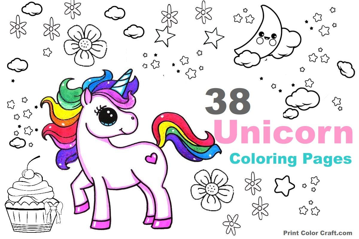 48 Unicorn Coloring Pages for Kids and Adults Kids indoor