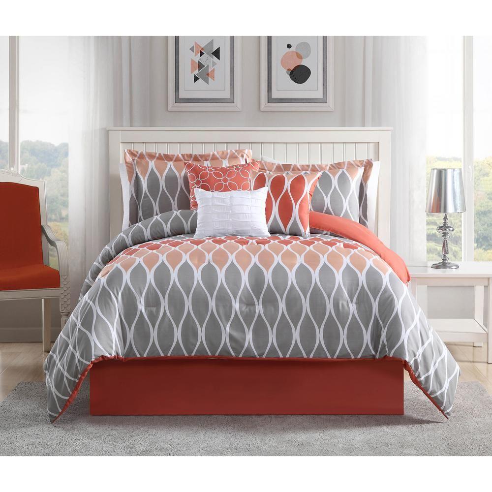 . Clarisse Coral Grey White 7 Piece Full Queen Comforter Set