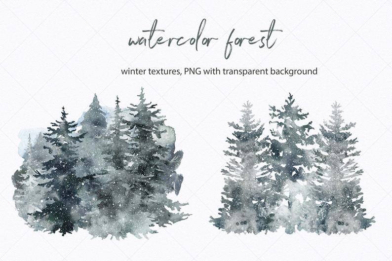 Winter Spruce Forest Clipart Watercolor Pine Tree Landscape Etsy Tree Forest Pine Trees Forest Landscape Trees