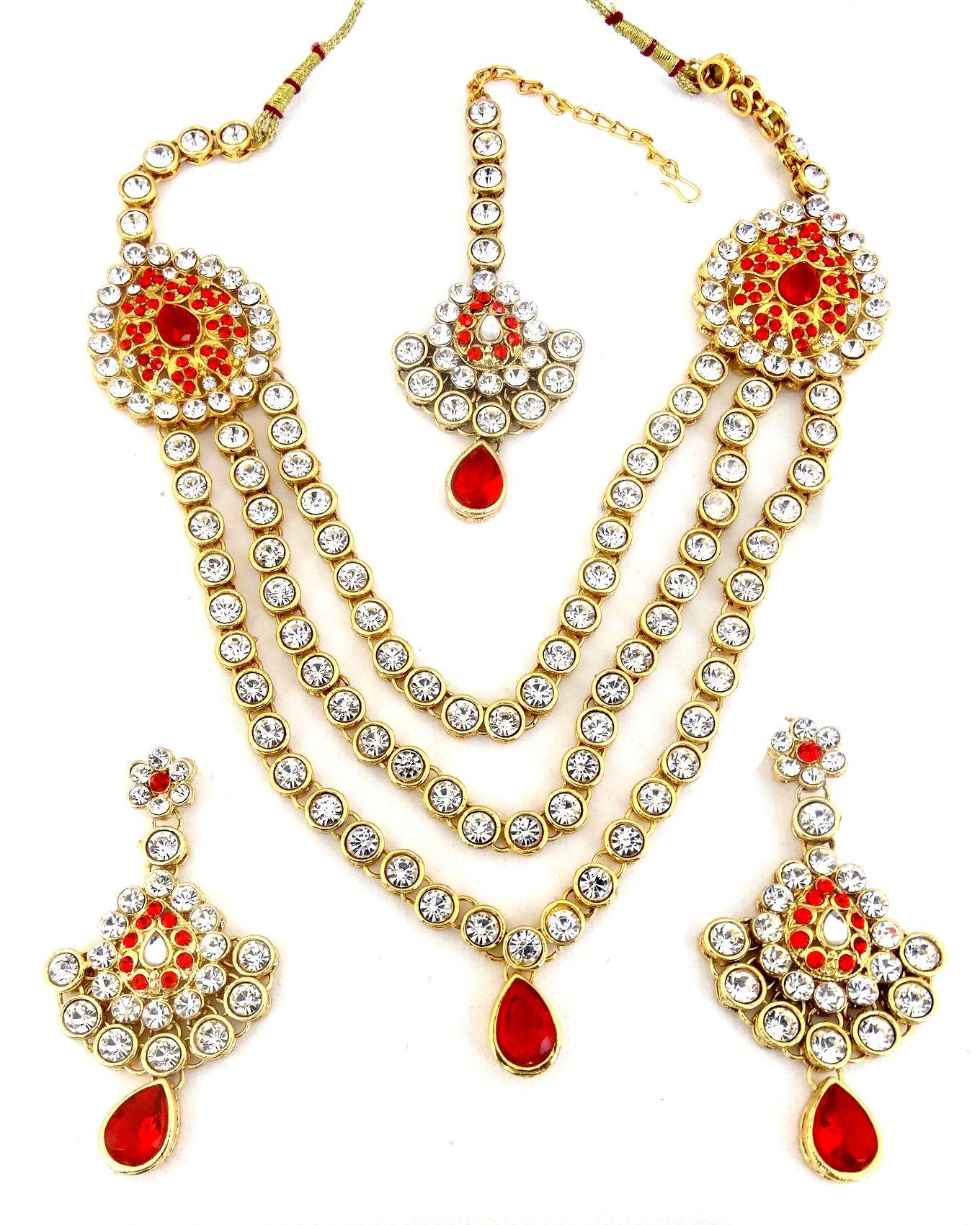 2b17068b5 Parure doré avec les pierres blanches et rouges Bijoux Indien ...