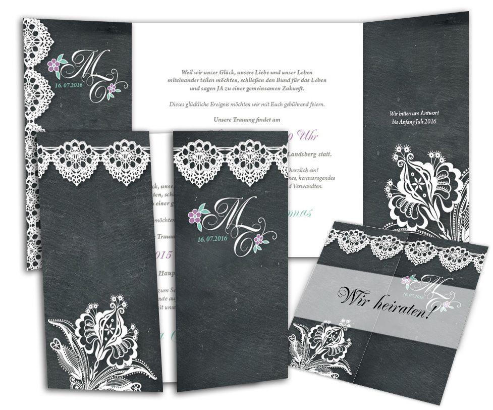 Edle hochzeitseinladungskarten im vintagestil mit schiefer mit spitze optik die transparente - Hochzeitseinladungen mit spitze ...