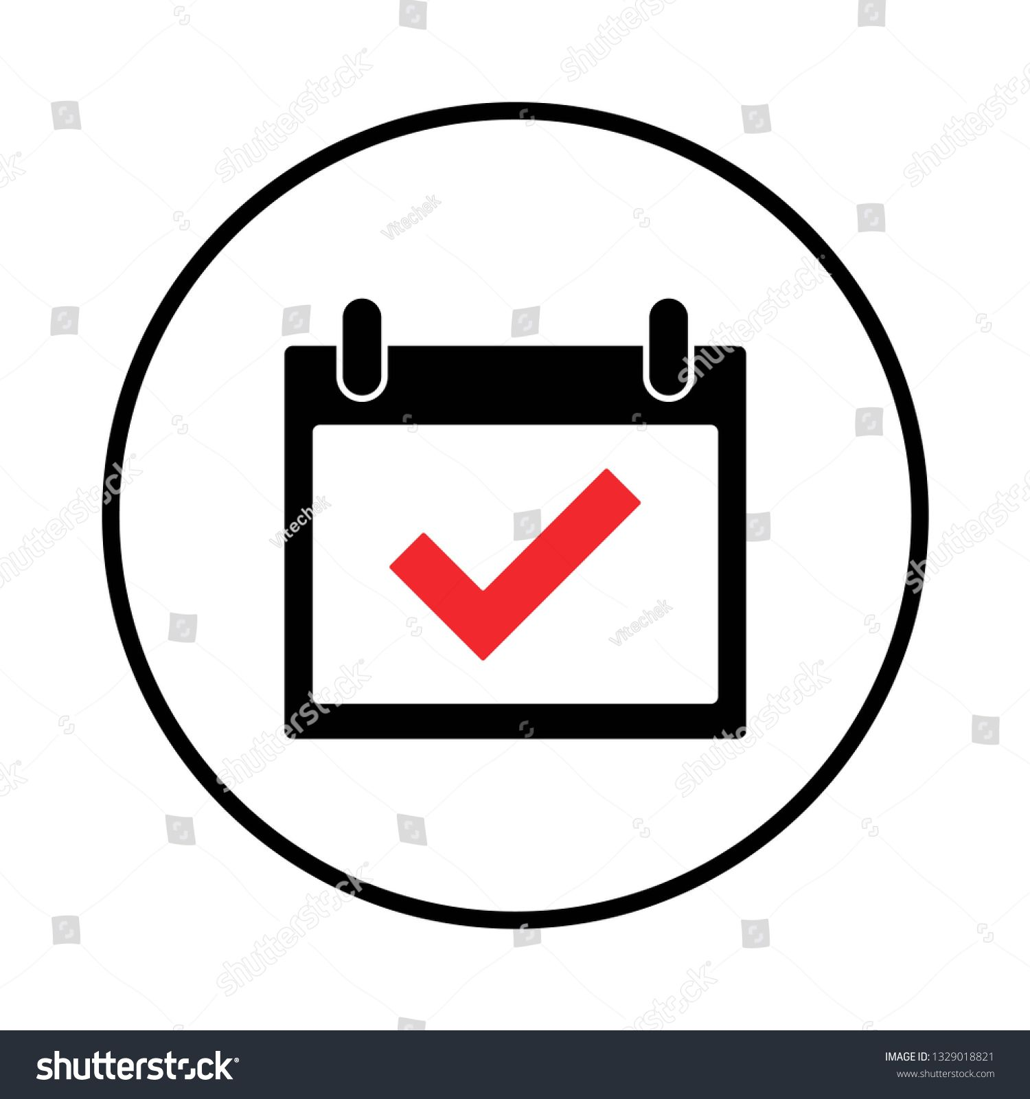 calendar icon vector. Calender symbol, check mark in the