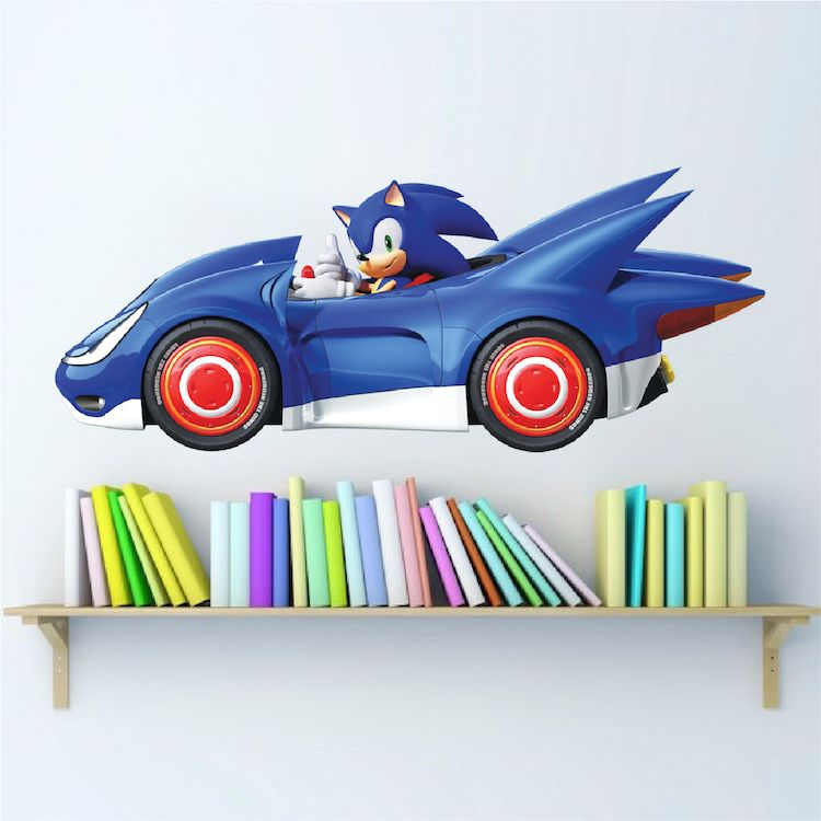 sega sonic wall decal gaming wall art nursery decals on sonic wall id=40862