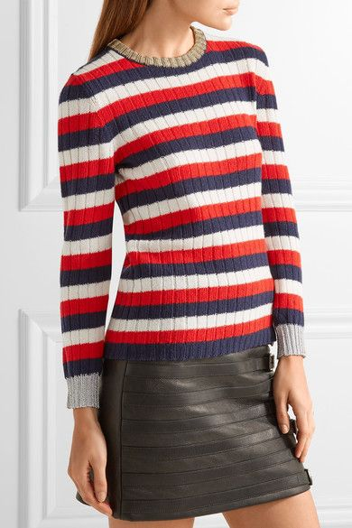 Gucci | Metallic-trimmed striped wool and cashmere-blend sweater | NET-A-PORTER.COM