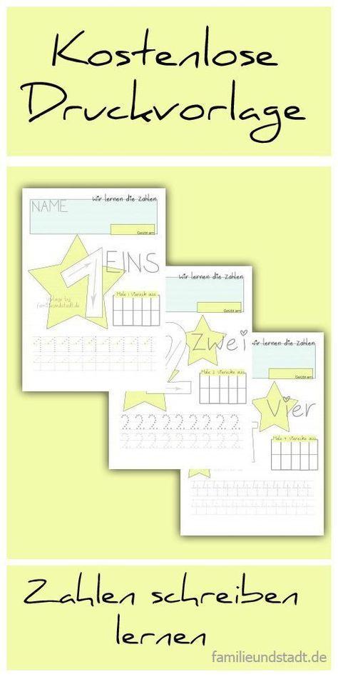 Zahlen lernen Kindergarten und Vorschule - kostenlose Druckvorlagen ...