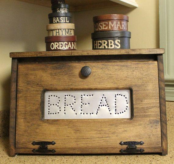 Farmhouse Bread Box Bin Wooden Punched Tin Storage Primitive
