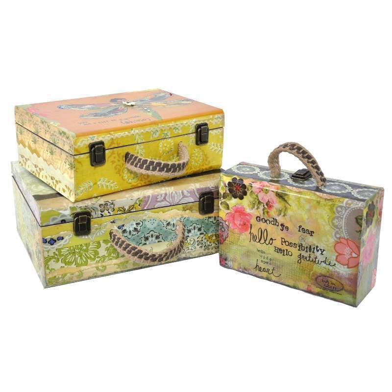Timber Suitcases Storage Trunks Boxes - Set of 3