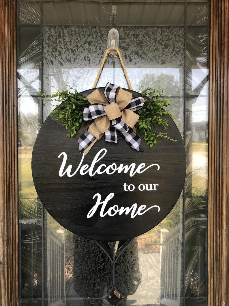 Door Hanger Welcome To Our Home Sign Welcome Wood Sign Welcome Wreath Front Door Decor Sign Realtor Gift For Clients In 2020 Welcome Wood Sign Welcome Wreath Burlap Wreath Diy