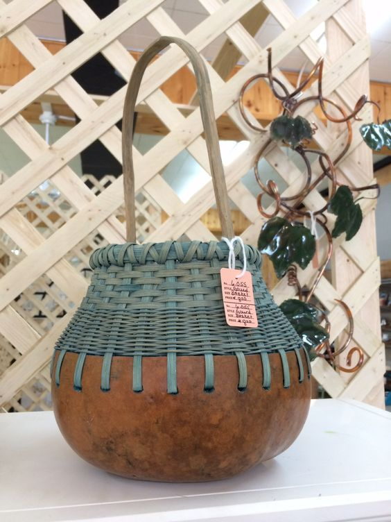 Gourd and reed basket | Basket weaving, Painted gourds, Basket #paintyourownpottery
