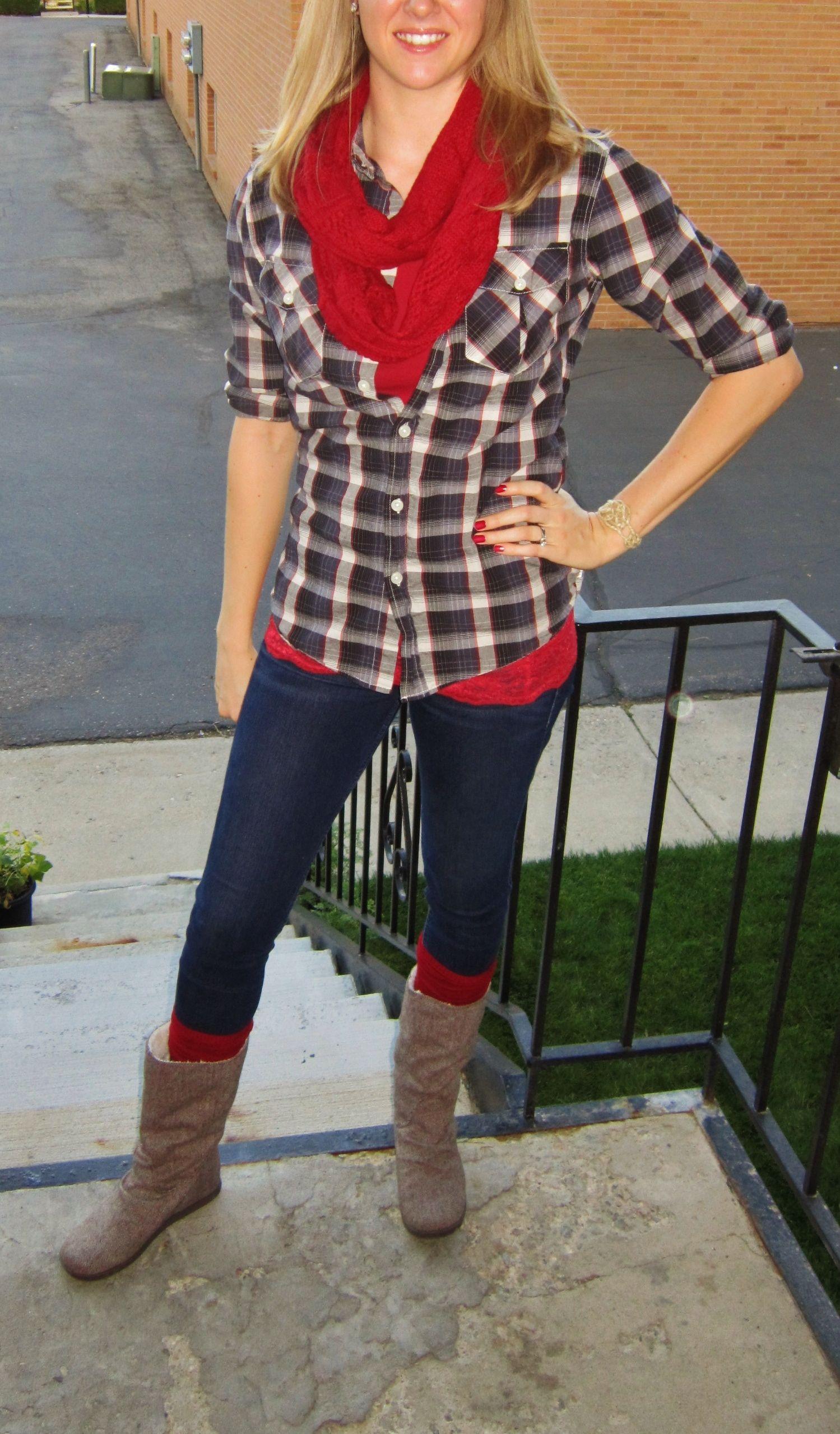 Red and black flannel cardigan  Plaid shirt husbandustaken in u darted Skinny jeans Holister